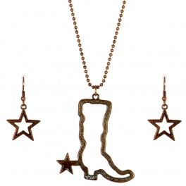 Wholesale M11B Texas Boot Star Necklace Set OG
