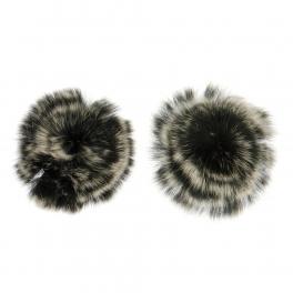 Wholesale M15A Rabbit Fur Shoe Clips BK/MT