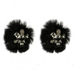 Wholesale M15A Fancy Crystal Rabbit Fur Shoe Clips BK