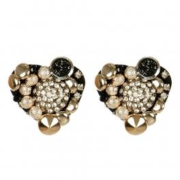 Wholesale M15A Multi Stone Heart Shape Shoe Clips BK