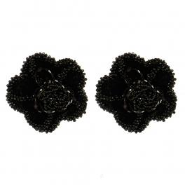 Wholesale M15A Wool Beaded Flower Shoe Clips BK
