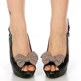 Wholesale M15A Hound Tooth Pattern Ribbon Shoe Clips WH/BR