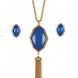 Wholesale M17B Tassel Stone Pendant Necklace Set GRBL