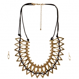 Wholesale L33E Metal and Leather Goddess Statement Necklace Set GBR