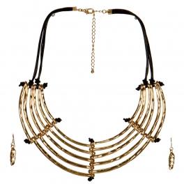 Wholesale L33E Layered Metal Bib Necklace Set GBR