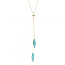 Wholesale M08C Faux Stone Dangle Lariat Necklace GD
