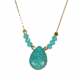 Wholesale M06A Faux Stone and Beads Necklace GD
