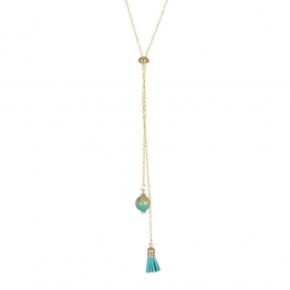 Wholesale M05B Faux Stone and Tassel Lariat Necklace GD