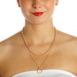 Wholesale N42A Ring Chain Layered Necklace GOLD/MG