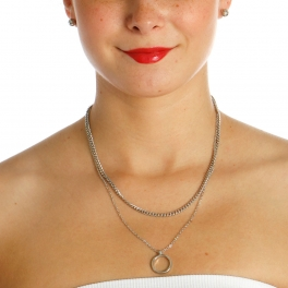 Wholesale N42A Ring Chain Layered Necklace RHODIUM