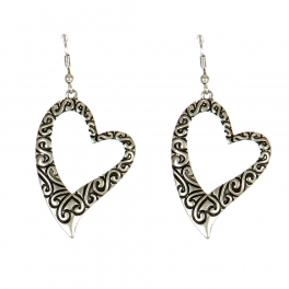 Wholesale M00B Heart Etched Earrings AS