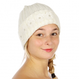 Wholesale O07C Cute Floral Knit Beanie IVORY