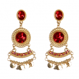 Wholesale L01A Beautiful Faux Stone Drop Earrings GOLD/RED