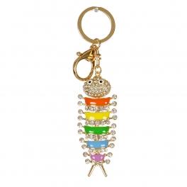 Wholesale M13D Rainbow Caterpillar w/ Rhinestone Keychain GD