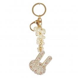 Wholesale M02E Studded Rabbit w/ Pearls Keychain GD