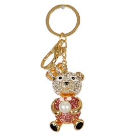 Wholesale M02E Crown Bear Holding a Pearl Keychain GD