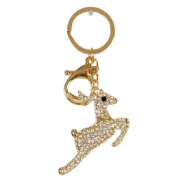 Wholesale M02E Running Deer Keychain w/ Rhinestones GD