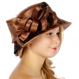 Wholesale V53B Flat Top Cloche Dress Hat Pecan