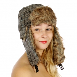 wholesale P13E Houndstooth Trapper Hat Beige/Brown