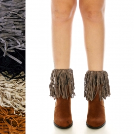 Wholesale S14B Western fringed boot cuffs assorted colors dozen
