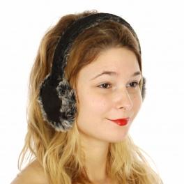 Wholesale R68D Faux suede ear muff with rabbit fur Black