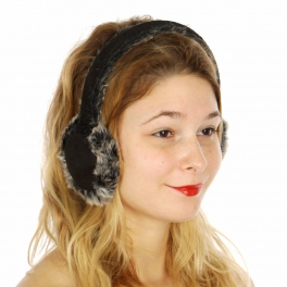 Wholesale R68D Faux suede ear muff with rabbit fur Black