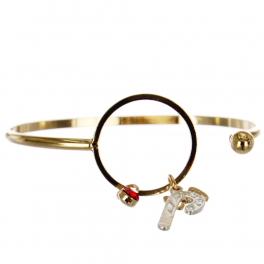 Wholesale WA00 Candycane & Bow charms bracelet GD