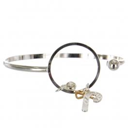 Wholesale WA00 Candycane & Bow charms bracelet SV