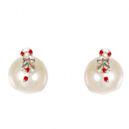 Wholesale WA00 Candy cane & faux pearl reversible studs CR