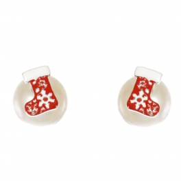 Wholesale WA00 Christmas stocking & faux pearl reversible studs CR