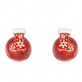 Wholesale WA00 Christmas stocking & faux pearl reversible studs RD