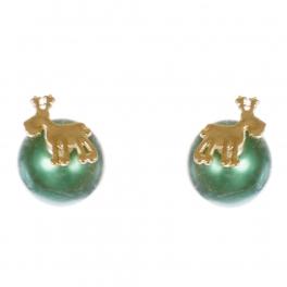 Wholesale WA00 Reindeer & faux pearl reversible studs GN