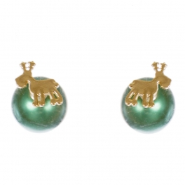 Wholesale WA00 Reindeer & faux pearl reversible studs GN