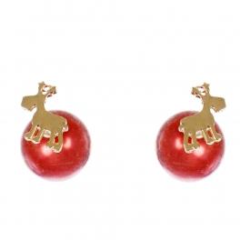 Wholesale WA00 Reindeer & faux pearl reversible studs RD