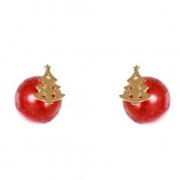 Wholesale WA00 Christmas tree & faux pearl reversible studs RD