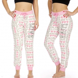 "Wholesale T86 Plush jogger pants w/ ""LOVE"" Sequin Applique, Wht w/ ""Love, Sleep"" AOP"