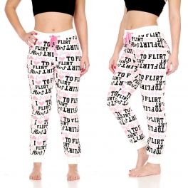 "Wholesale T37 Plush jogger pants, Pink w/ ""Love to Flirt"" AOP"