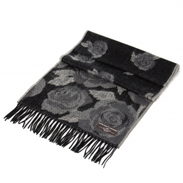 Wholesale O75 Rose print cashmere feel scarf Black