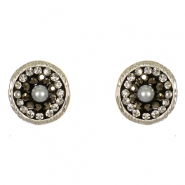 Wholesale L07D Circular studs w/ rhinestones & faux pearl WS