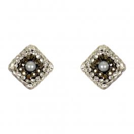 Wholesale L07D Diamond studs w/ rhinestones & faux pearl WS