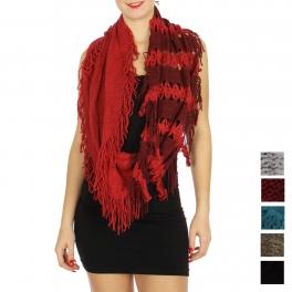 Wholesale U33B Two-tone fringe infinity scarves assorted color Dozen
