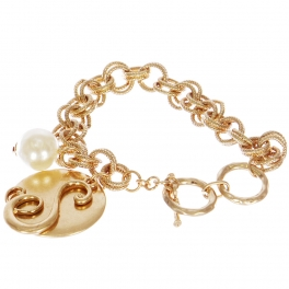 "Wholesale WA00 Monogram ""S"" pendant & faux pearl charm bracelet SWG"