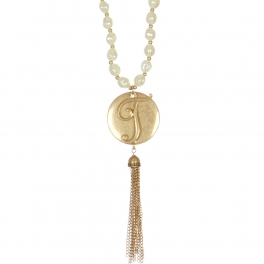 "Wholesale WA00 Monogram ""T"" & tassel pendant pearl 27"" necklace TWG"