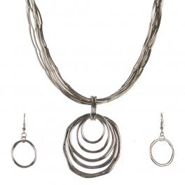 Wholesale WA00 Metal rings pendant & metal string necklace set RH