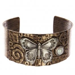 Wholesale WA00 Butterfly & faux pearl metal statement cuff bracelet RGBSB