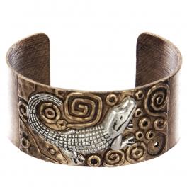 Wholesale WA00 Crocodile & faux pearl metal statement cuff bracelet RGBSB