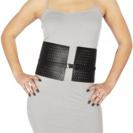 Wholesale M38B Super wide faux leather waist belt Black