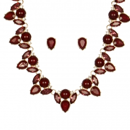 Wholesale WA00 Pear shaped stones necklace & earrings set GDBUG