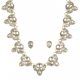 Wholesale WA00 Pear shaped stones necklace & earrings set GDCR
