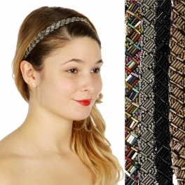 Wholesale M04D Metalic beaded thin headband Dozen